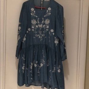 Goodnight Macaroon chambray embroidered dress